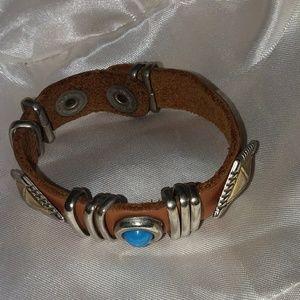 Handmade Southwestern Design Leather Bracelet